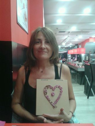 Nuria with the present