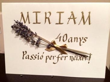 Postcard for the 40è  Miriam's  birthday